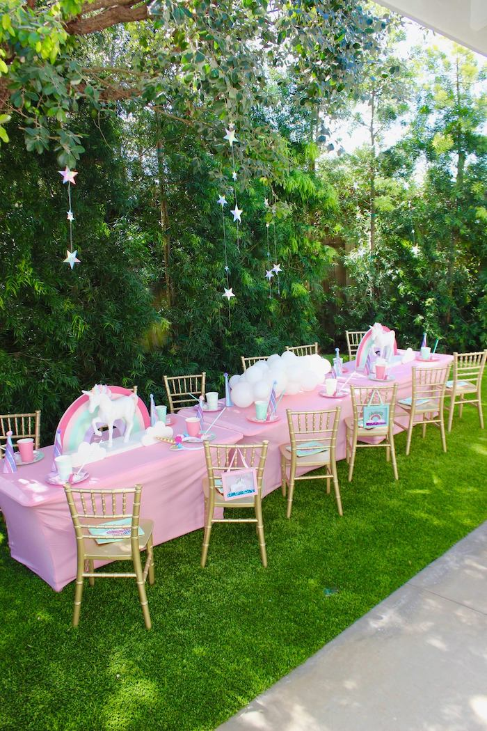 Unicorn-inspired Guest Table from a Glitter & Unicorns Birthday Party on Kara's Party Ideas | KarasPartyIdeas.com (9)