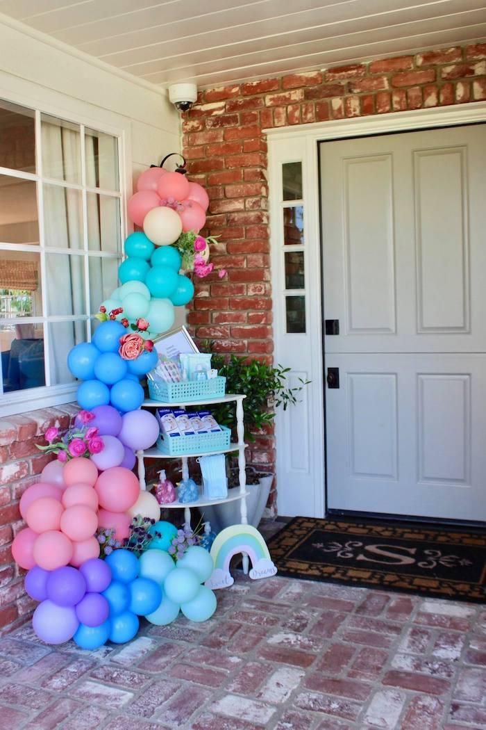 Floral Balloon Garland Entryway from a Glitter & Unicorns Birthday Party on Kara's Party Ideas | KarasPartyIdeas.com (8)