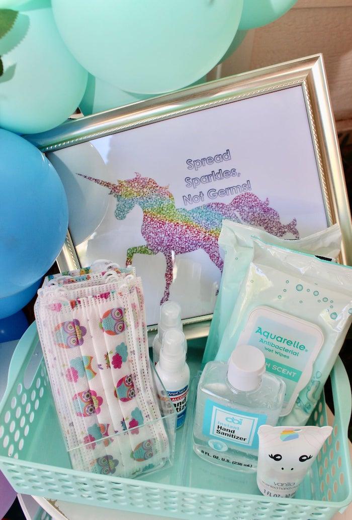 Unicorn Sanitation Station from a Glitter & Unicorns Birthday Party on Kara's Party Ideas | KarasPartyIdeas.com (7)