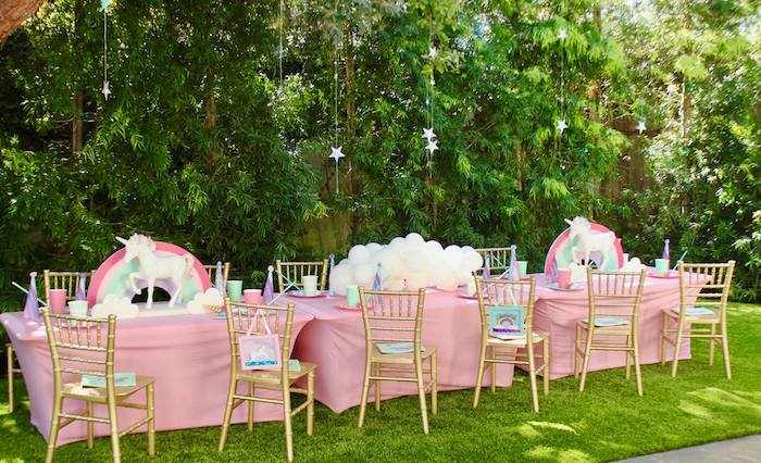 Unicorn + Rainbow-inspired Guest Table from a Glitter & Unicorns Birthday Party on Kara's Party Ideas | KarasPartyIdeas.com (6)