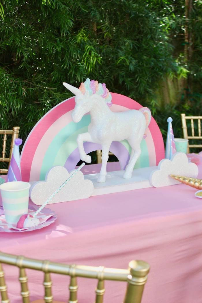 Rainbow & Unicorn Table Centerpiece from a Glitter & Unicorns Birthday Party on Kara's Party Ideas | KarasPartyIdeas.com (24)