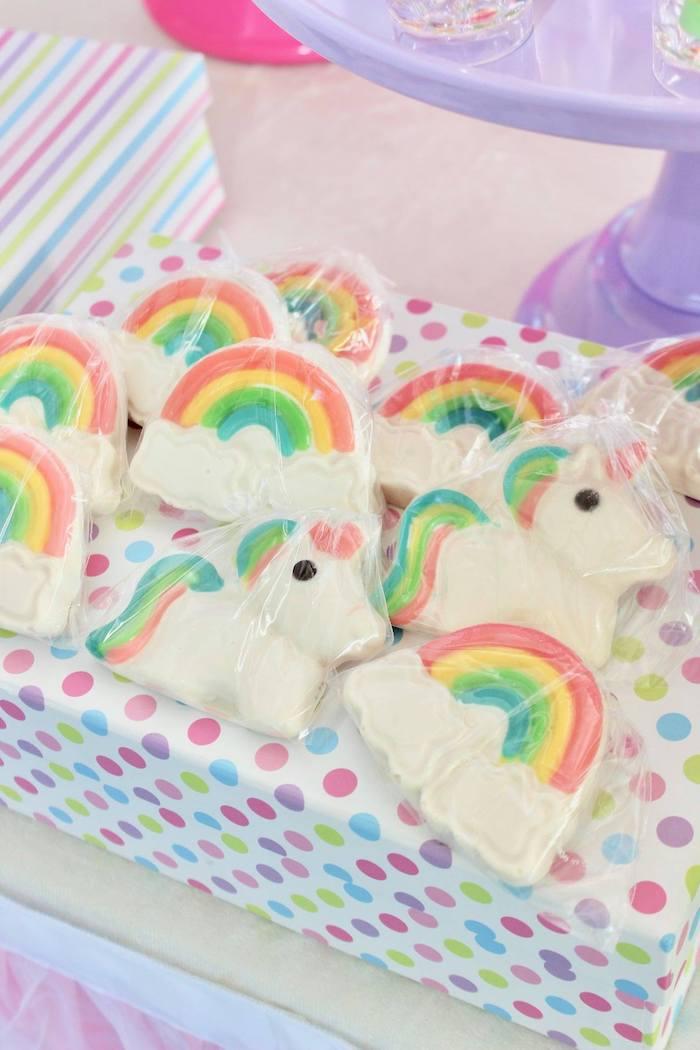 Unicorn + Rainbow Cookies from a Glitter & Unicorns Birthday Party on Kara's Party Ideas | KarasPartyIdeas.com (5)