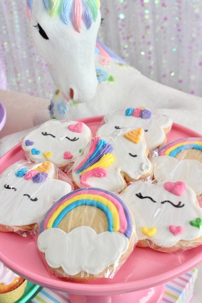 Unicorn + Rainbow Cookies from a Glitter & Unicorns Birthday Party on Kara's Party Ideas | KarasPartyIdeas.com (3)