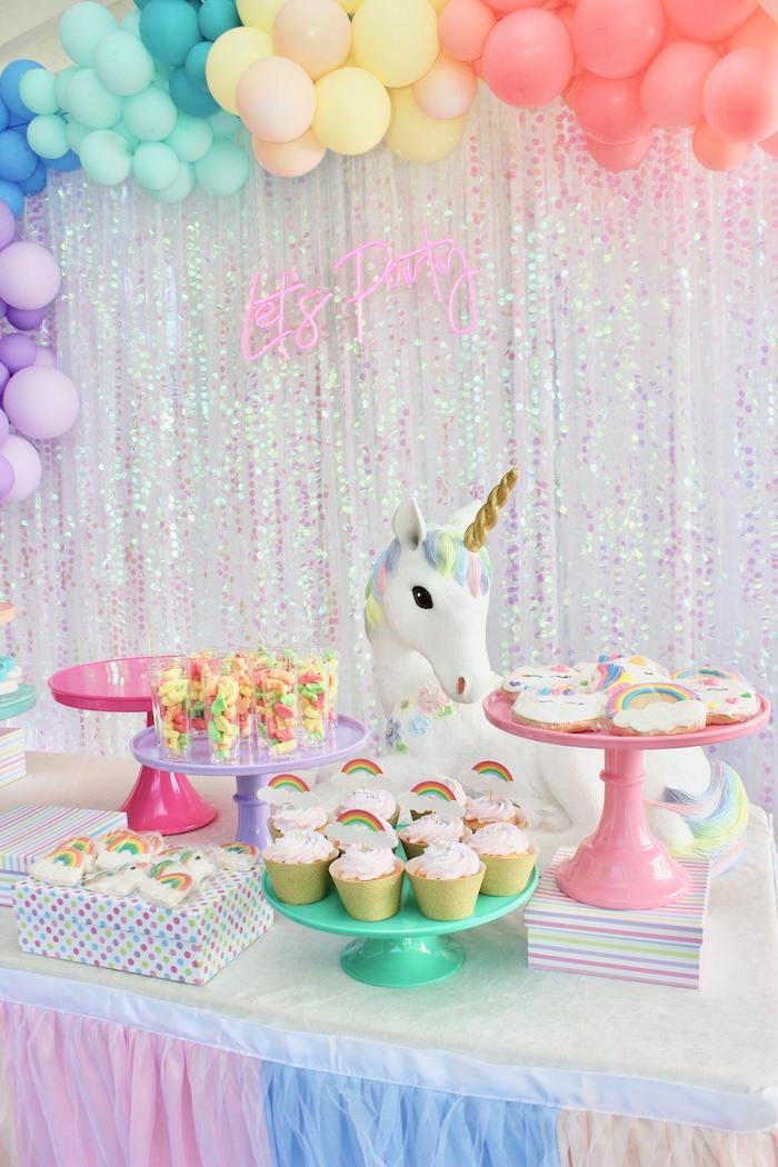 Unicorn Themed Dessert Table from a Glitter & Unicorns Birthday Party on Kara's Party Ideas | KarasPartyIdeas.com (20)