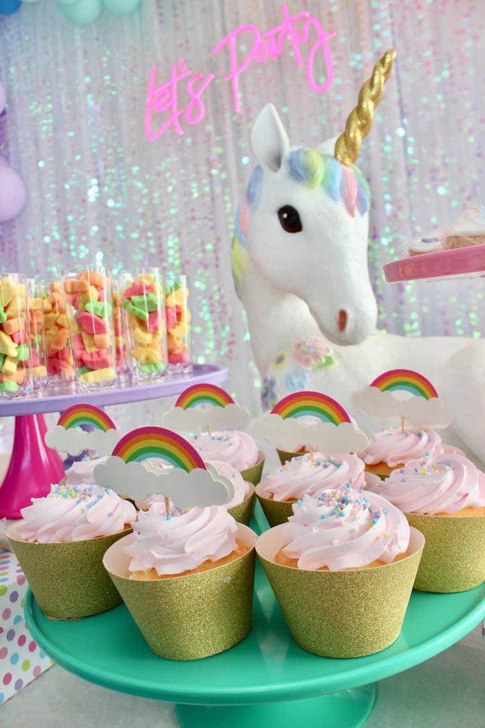 Rainbow Cupcakes from a Glitter & Unicorns Birthday Party on Kara's Party Ideas | KarasPartyIdeas.com (19)
