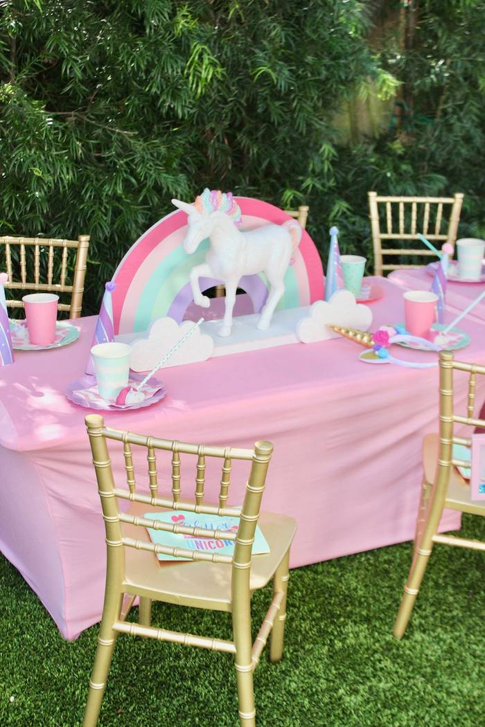 Unicorn-inspired Guest Table from a Glitter & Unicorns Birthday Party on Kara's Party Ideas | KarasPartyIdeas.com (16)