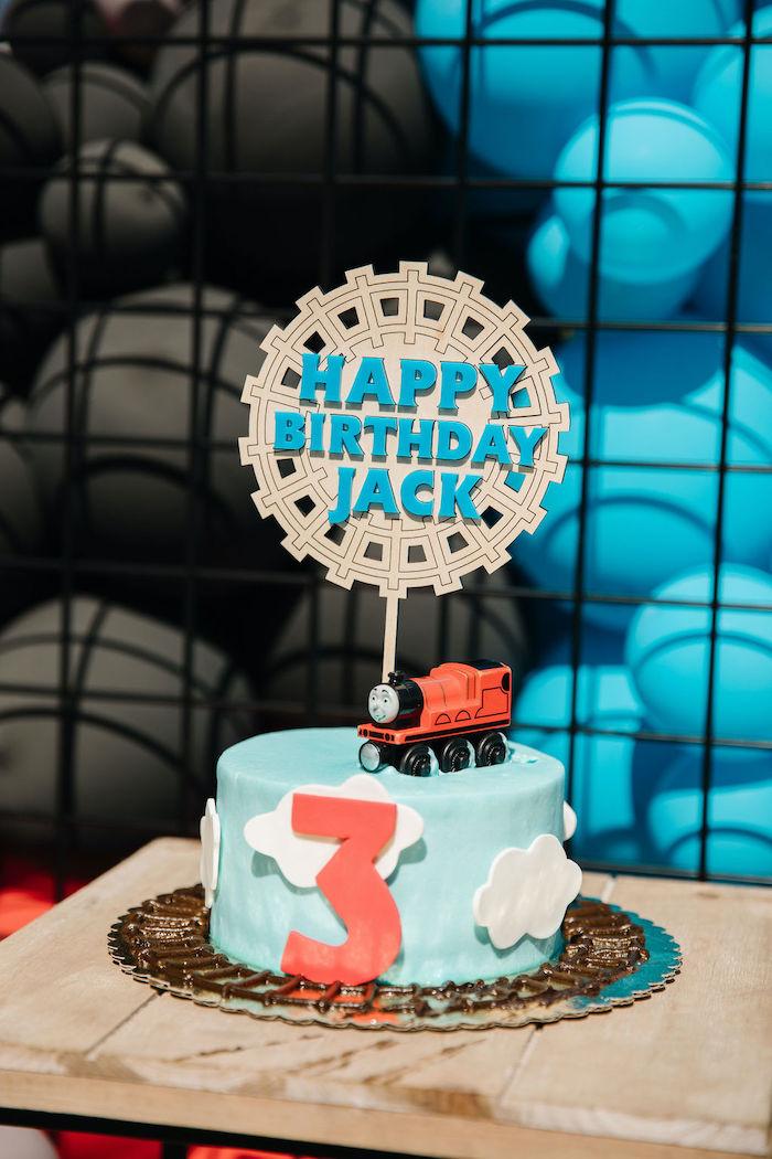 Thomas Train-inspired Cake from a Modern Thomas the Train Birthday Party on Kara's Party Ideas | KarasPartyIdeas.com (18)