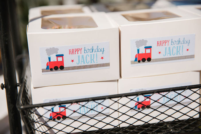 Train-labeled Donut Favor Boxes from a Modern Thomas the Train Birthday Party on Kara's Party Ideas | KarasPartyIdeas.com (10)