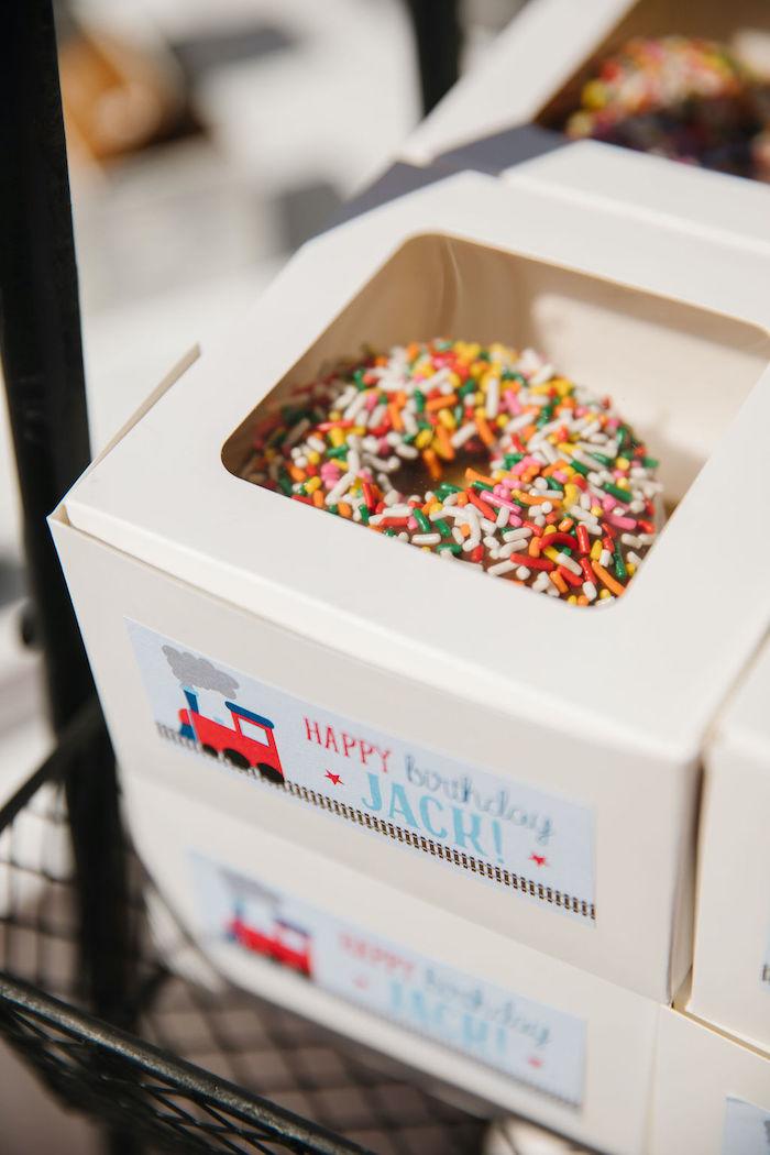 Donut Favor Box from a Modern Thomas the Train Birthday Party on Kara's Party Ideas | KarasPartyIdeas.com (9)