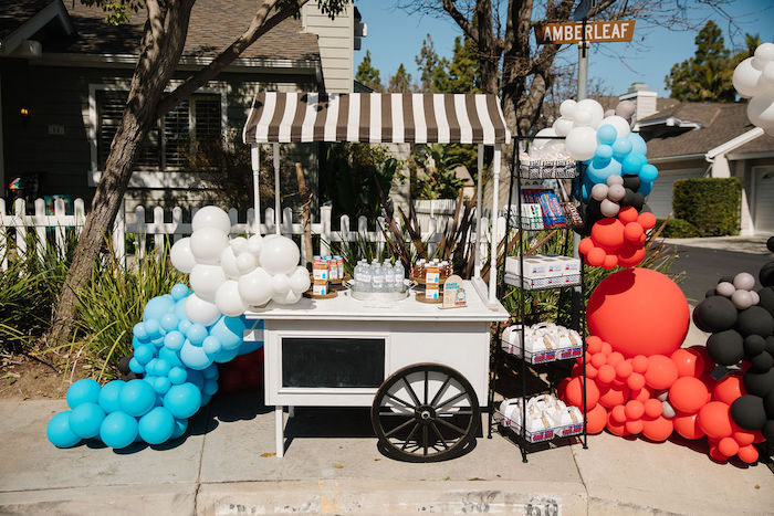 Snack + Beverage Station from a Modern Thomas the Train Birthday Party on Kara's Party Ideas | KarasPartyIdeas.com (7)