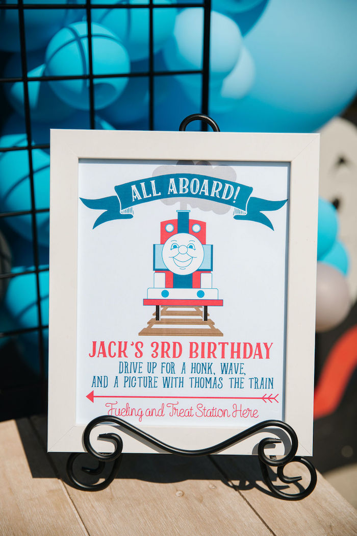 """Thomas Train """"All Aboard"""" + Welcome Sign from a Modern Thomas the Train Birthday Party on Kara's Party Ideas 