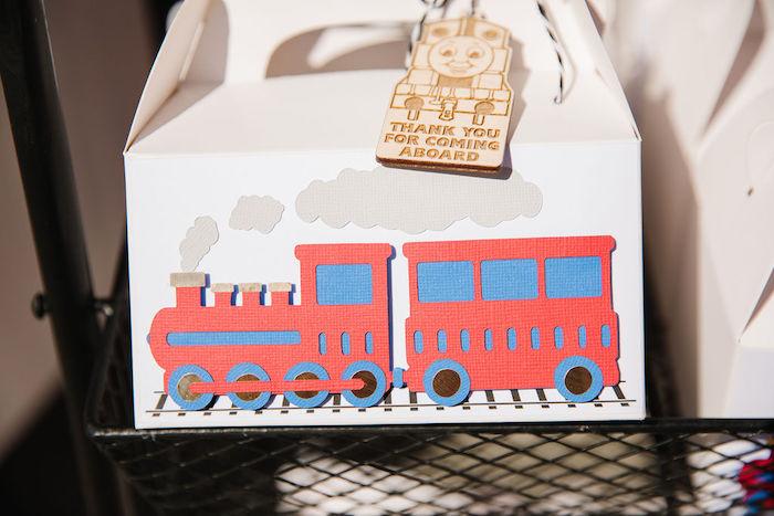 Train-adorned Gable Favor Box from a Modern Thomas the Train Birthday Party on Kara's Party Ideas | KarasPartyIdeas.com (27)