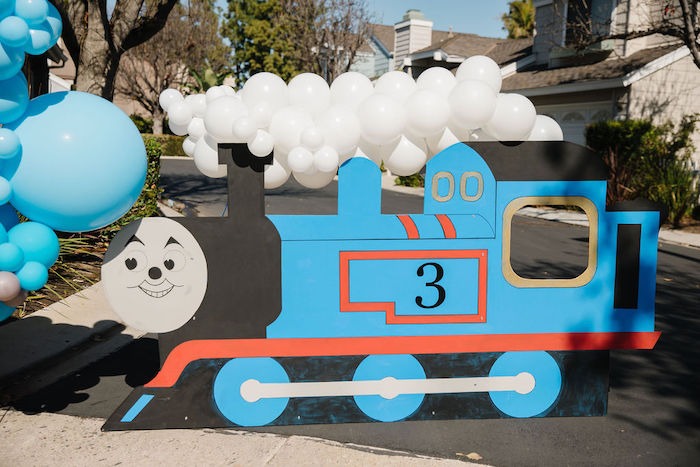 Thomas Train Standee from a Modern Thomas the Train Birthday Party on Kara's Party Ideas | KarasPartyIdeas.com (24)