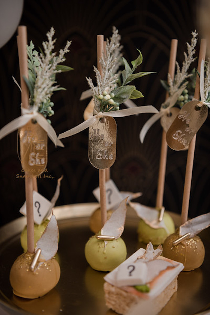 He or She Cake Pops from a Neutral Earth Tones Gender Reveal Party on Kara's Party Ideas | KarasPartyIdeas.com (14)