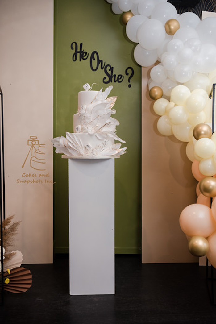 Cake Pedestal from a Neutral Earth Tones Gender Reveal Party on Kara's Party Ideas | KarasPartyIdeas.com (9)