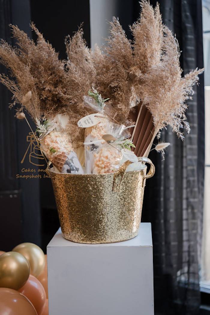 Gold Favor Bucket from a Neutral Earth Tones Gender Reveal Party on Kara's Party Ideas | KarasPartyIdeas.com (7)