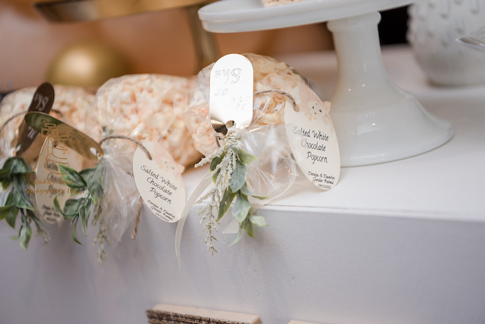 Salted White Caramel Popcorn Bags from a Neutral Earth Tones Gender Reveal Party on Kara's Party Ideas | KarasPartyIdeas.com (22)