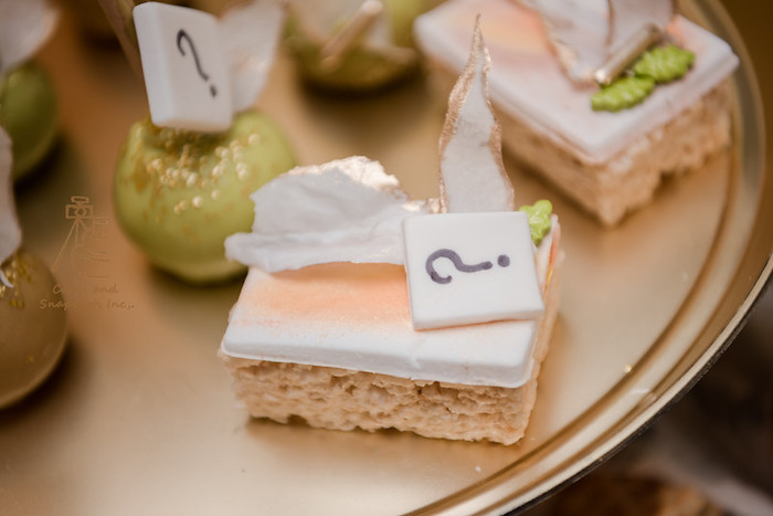 Gender Reveal Rice Crispy Treat from a Neutral Earth Tones Gender Reveal Party on Kara's Party Ideas | KarasPartyIdeas.com (21)