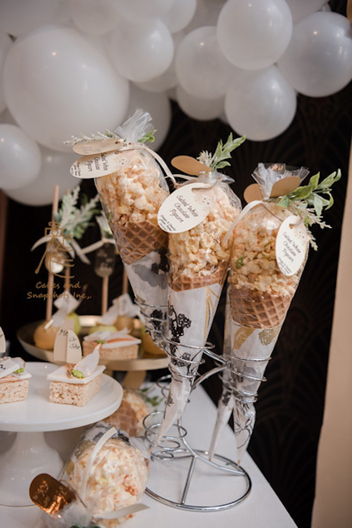 Popcorn Cones from a Neutral Earth Tones Gender Reveal Party on Kara's Party Ideas | KarasPartyIdeas.com (15)