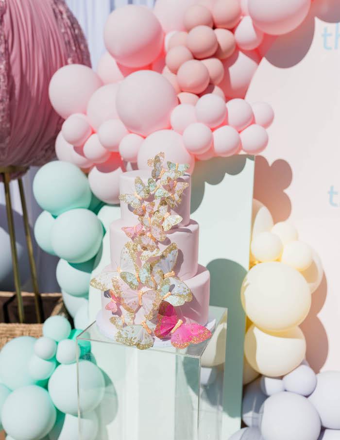 Butterfly Cake from a Pastel Rainbow Unicorn Party on Kara's Party Ideas | KarasPartyIdeas.com (20)