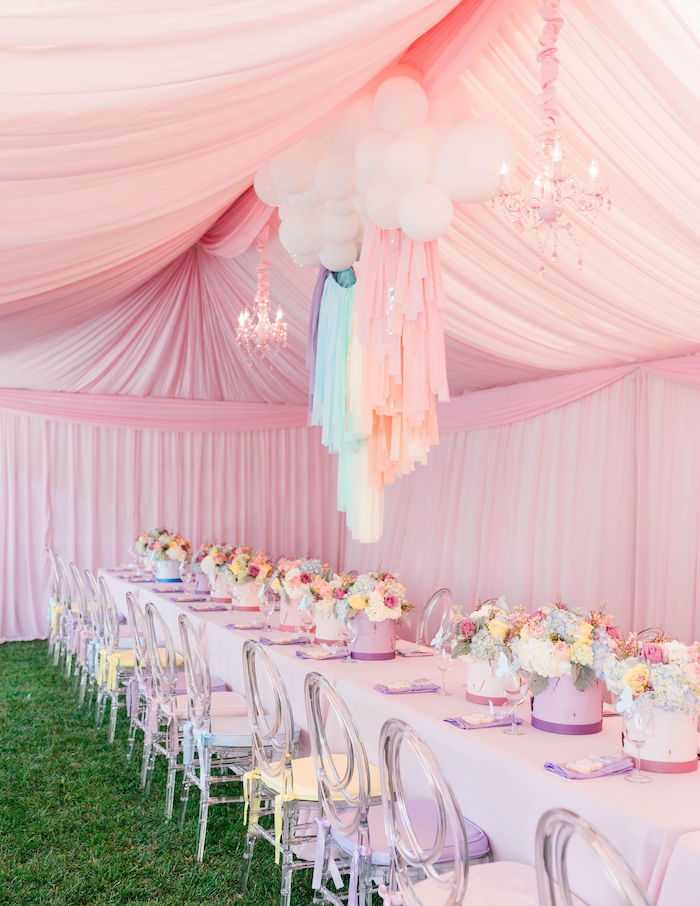 Pastel Guest Table from a Pastel Rainbow Unicorn Party on Kara's Party Ideas | KarasPartyIdeas.com (16)