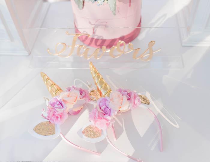 Floral Unicorn Headbands from a Pastel Rainbow Unicorn Party on Kara's Party Ideas | KarasPartyIdeas.com (31)