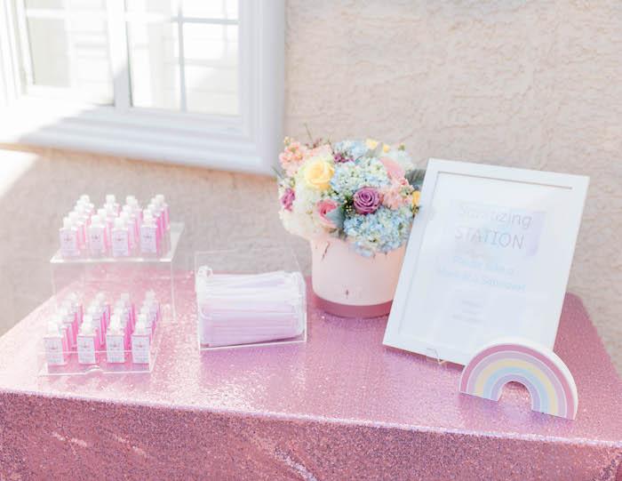 Sanitation Station from a Pastel Rainbow Unicorn Party on Kara's Party Ideas | KarasPartyIdeas.com (11)