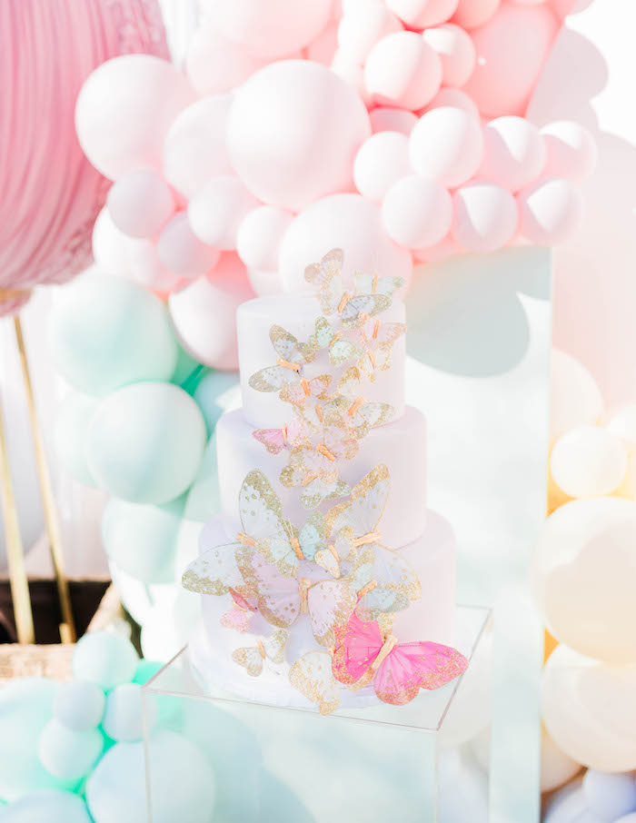 Butterfly Cake from a Pastel Rainbow Unicorn Party on Kara's Party Ideas | KarasPartyIdeas.com (7)