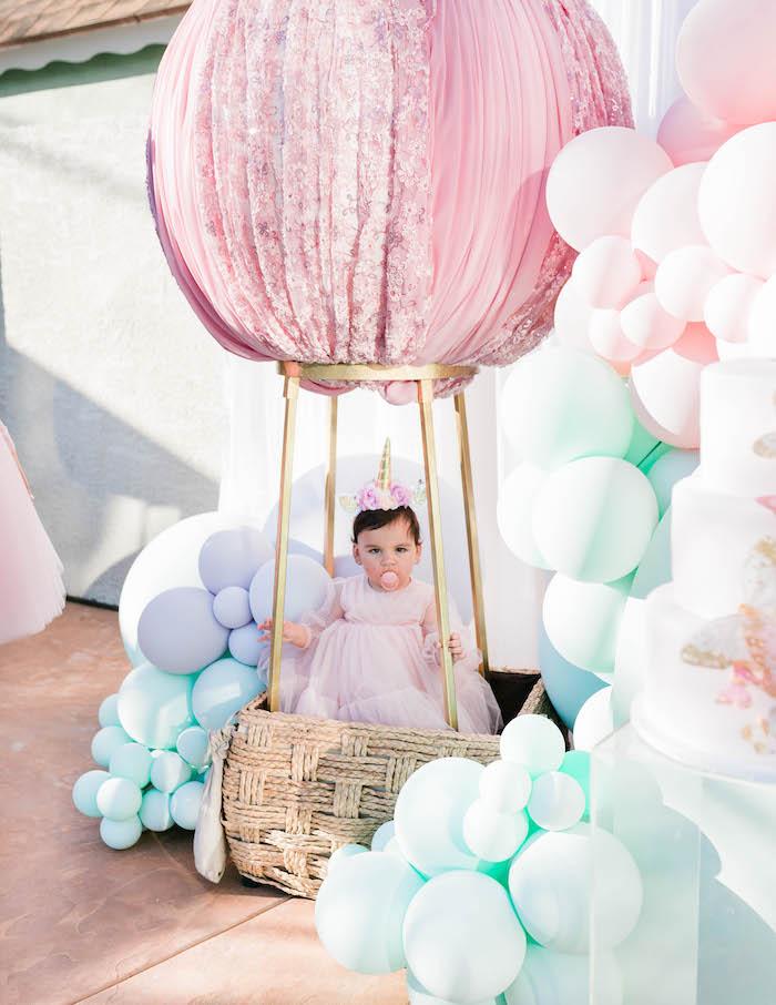 Velvet Hot Air Balloon from a Pastel Rainbow Unicorn Party on Kara's Party Ideas | KarasPartyIdeas.com (5)