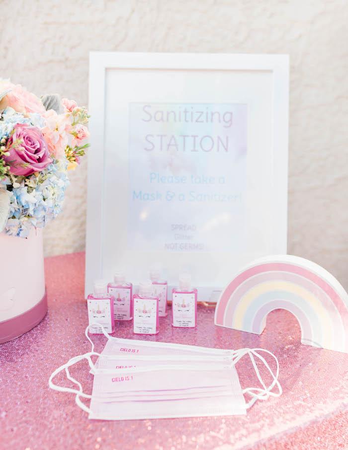 Sanitation Station from a Pastel Rainbow Unicorn Party on Kara's Party Ideas | KarasPartyIdeas.com (30)