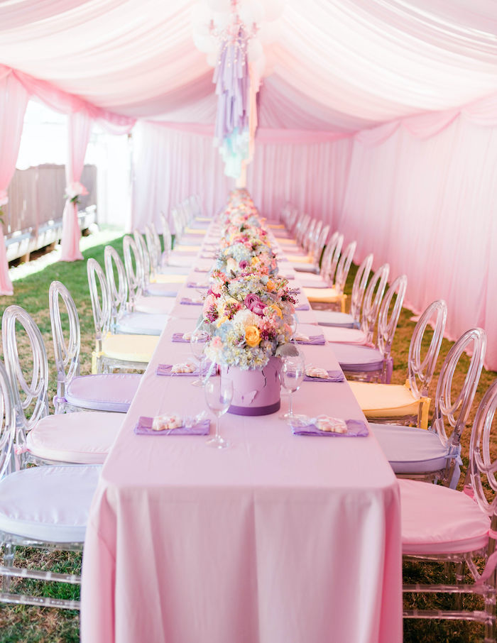 Unicorn-inspired Party Table from a Pastel Rainbow Unicorn Party on Kara's Party Ideas | KarasPartyIdeas.com (28)