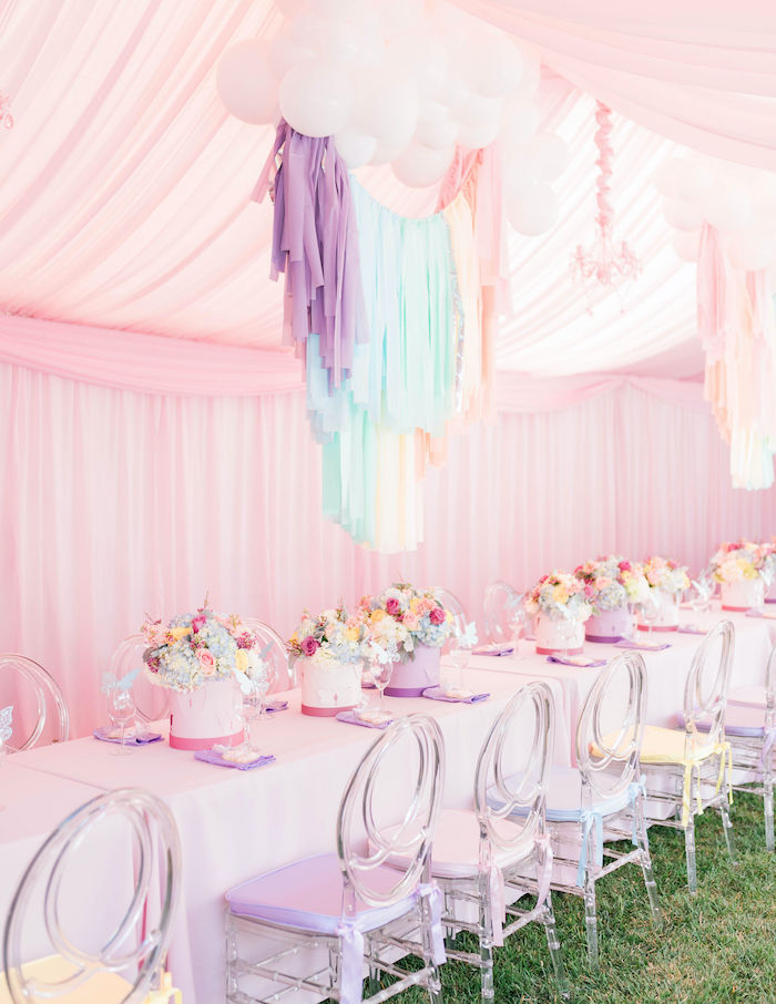 Pretty Pastel Guest Table from a Pastel Rainbow Unicorn Party on Kara's Party Ideas | KarasPartyIdeas.com (25)
