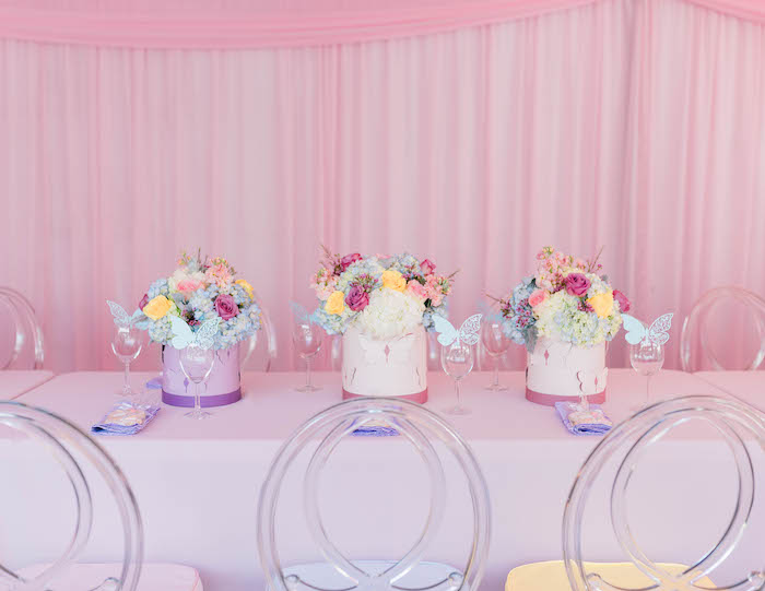 Pastel Guest Table from a Pastel Rainbow Unicorn Party on Kara's Party Ideas | KarasPartyIdeas.com (24)