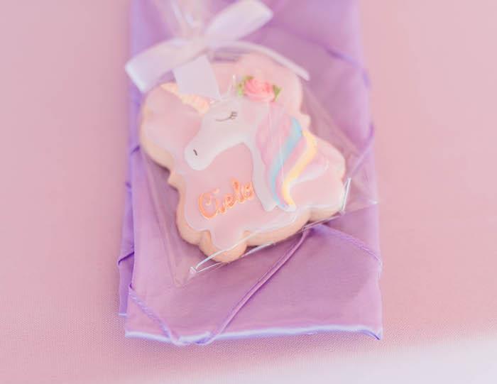 Unicorn Cookie from a Pastel Rainbow Unicorn Party on Kara's Party Ideas | KarasPartyIdeas.com (23)