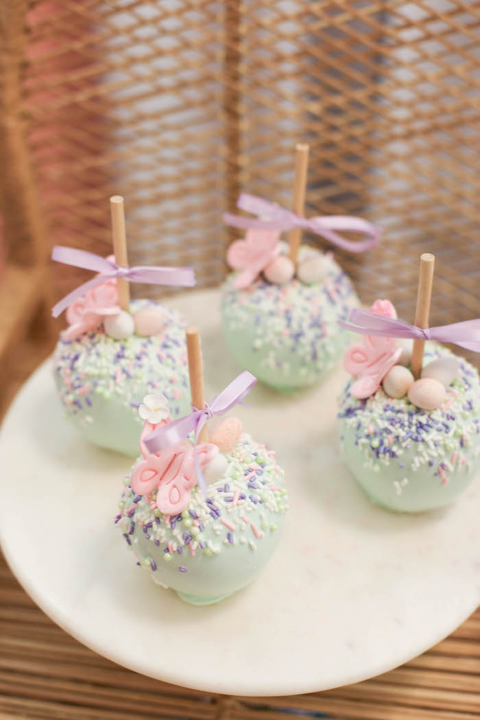 Garden-inspired Candy Apples from a Play Date Flower Garden Party on Kara's Party Ideas | KarasPartyIdeas.com (27)