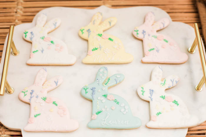 Pastel Bunny Cookies from a Play Date Flower Garden Party on Kara's Party Ideas | KarasPartyIdeas.com (26)