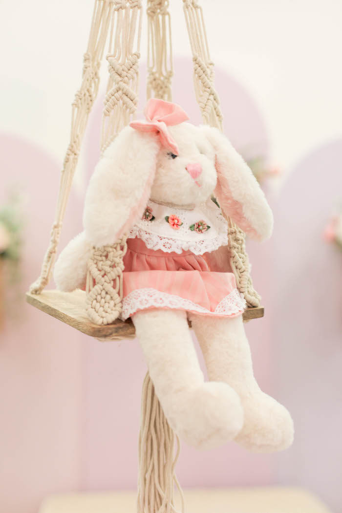 Plush Bunny on a Swing from a Play Date Flower Garden Party on Kara's Party Ideas | KarasPartyIdeas.com (34)