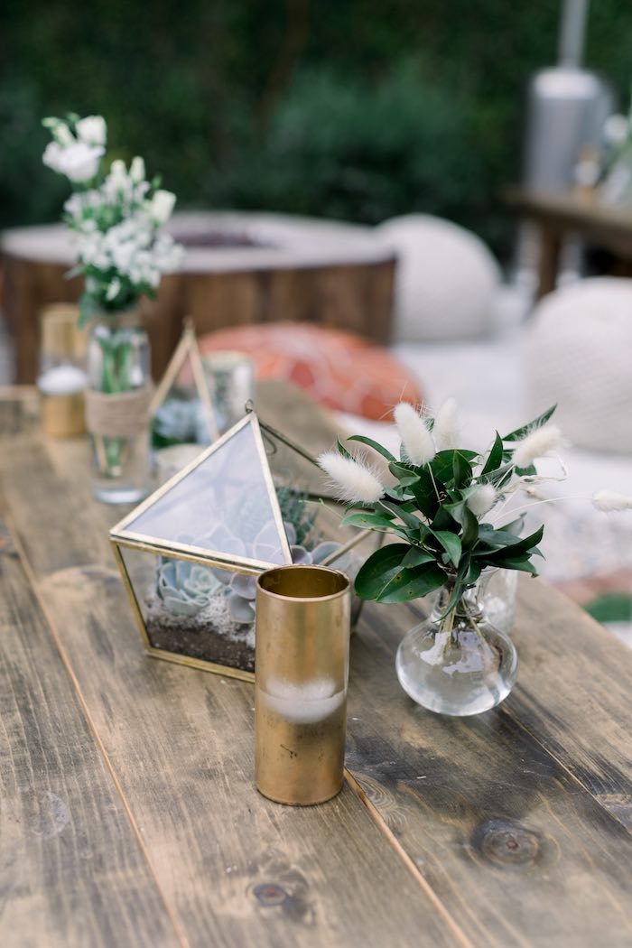 Rustic Chic Guest Table from a Rustic Boho Backyard Bat Mitzvah on Kara's Party Ideas | KarasPartyIdeas.com (32)