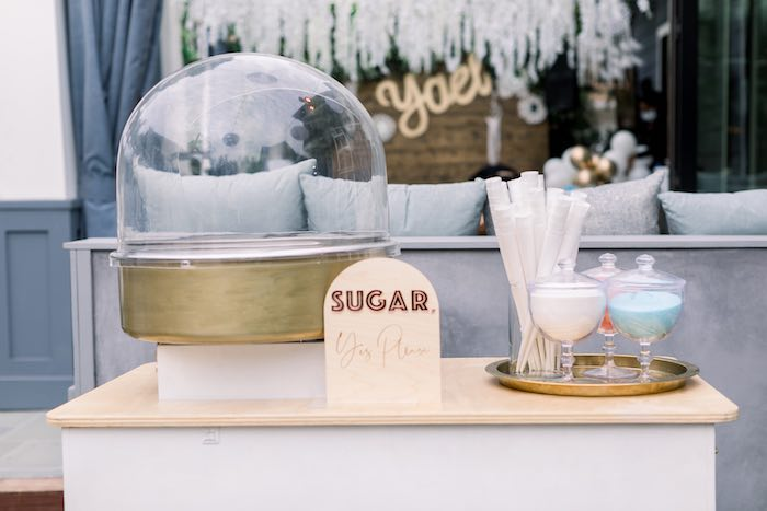 Cotton Candy Cart from a Rustic Boho Backyard Bat Mitzvah on Kara's Party Ideas | KarasPartyIdeas.com (31)