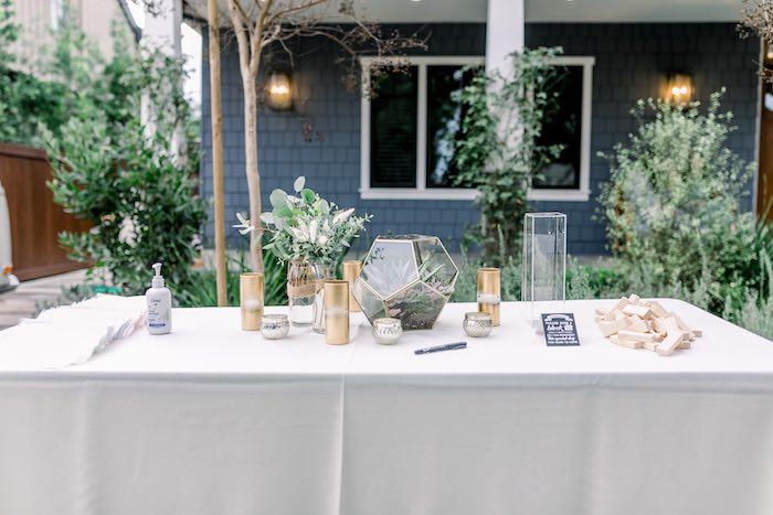 Welcome Table from a Rustic Boho Backyard Bat Mitzvah on Kara's Party Ideas | KarasPartyIdeas.com (27)