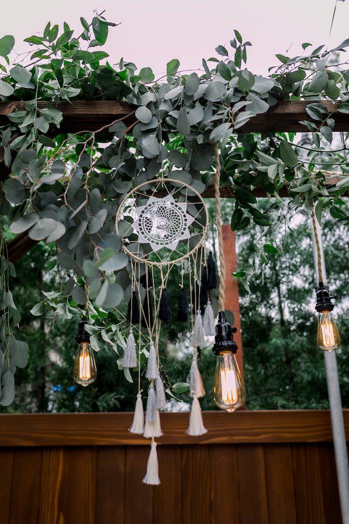 Dreamcatchers and Edison Bulb Lights from a Rustic Boho Backyard Bat Mitzvah on Kara's Party Ideas | KarasPartyIdeas.com (40)