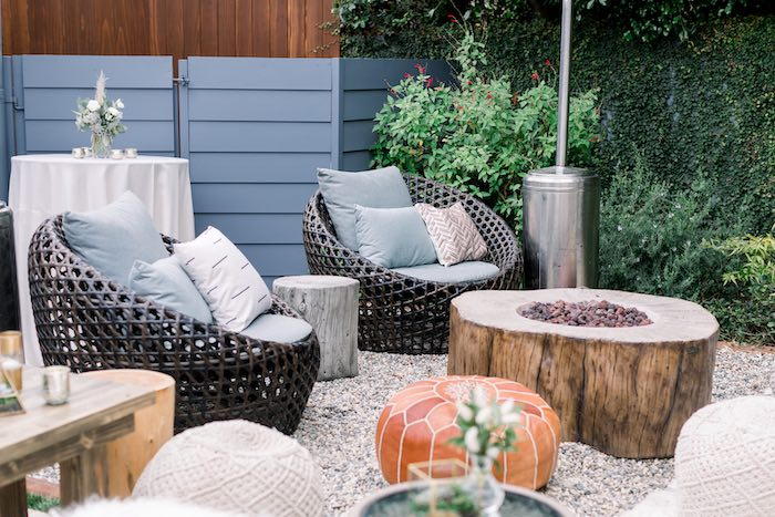 Rustic Chic Fire Pit Lounge from a Rustic Boho Backyard Bat Mitzvah on Kara's Party Ideas | KarasPartyIdeas.com (37)