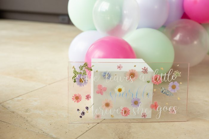 Acrylic Floral Sign from a Spring Enchanted Forest Party on Kara's Party Ideas | KarasPartyIdeas.com (8)