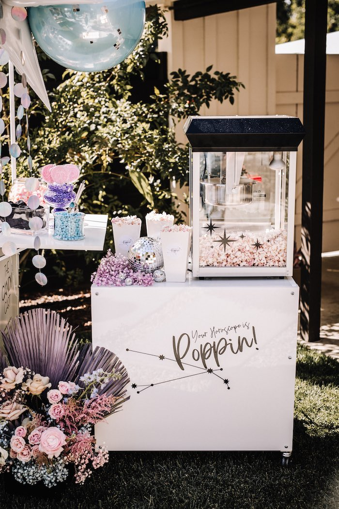 """Popcorn Stand from a Stellar """"Party Like an Aires"""" Party on Kara's Party Ideas 