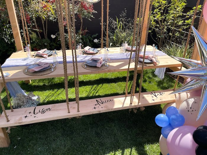 """Scripted Name Bench Guest Table from a Stellar """"Party Like an Aires"""" Party on Kara's Party Ideas 