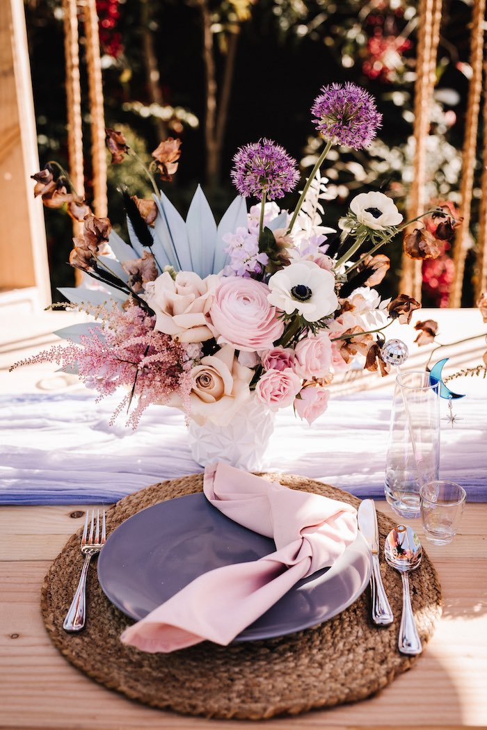 """Boho Table Setting from a Stellar """"Party Like an Aires"""" Party on Kara's Party Ideas 