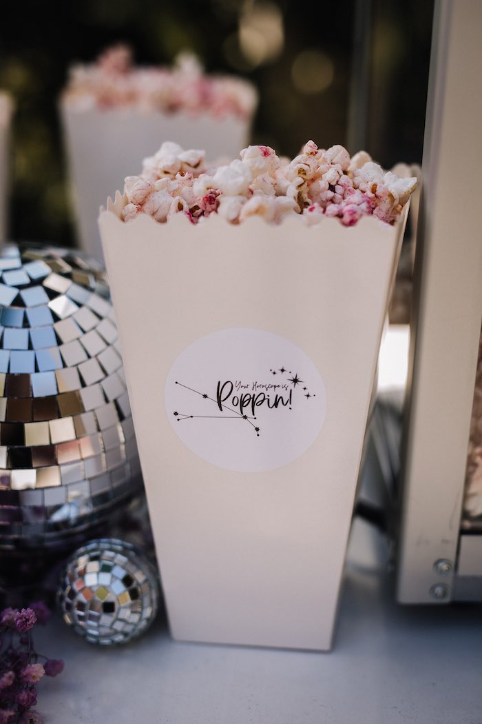 """Stellar Popcorn Box from a Stellar """"Party Like an Aires"""" Party on Kara's Party Ideas 