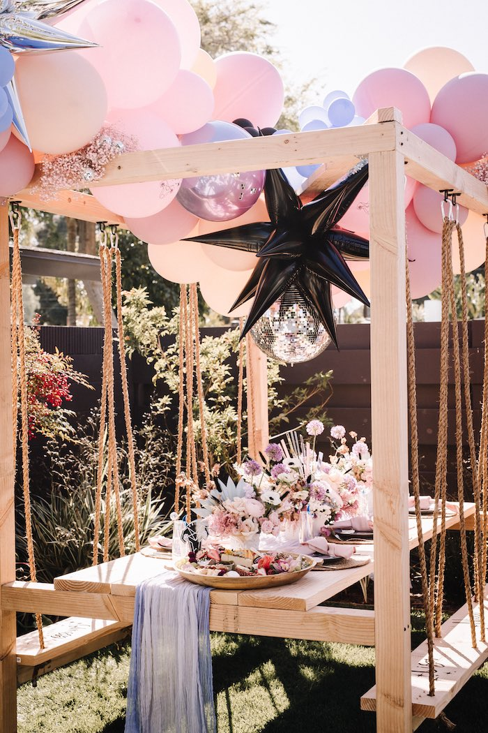 """Swing Guest Table from a Stellar """"Party Like an Aires"""" Party on Kara's Party Ideas 