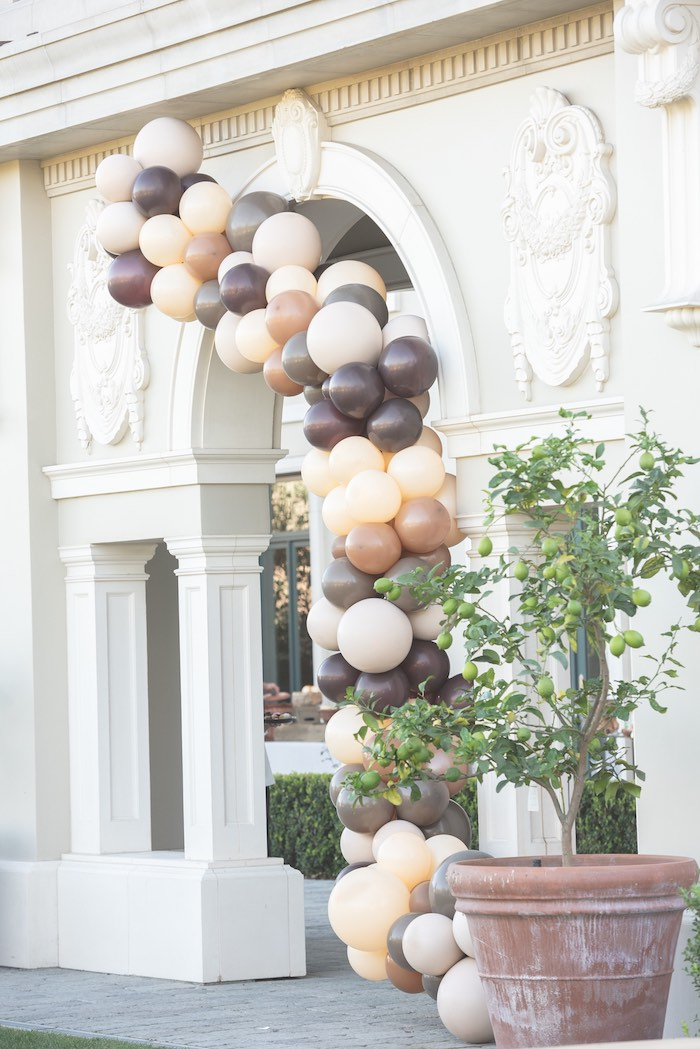 Neutral-colored Balloon Garland from a Teddy Bear Birthday Party on Kara's Party Ideas | KarasPartyIdeas.com (15)