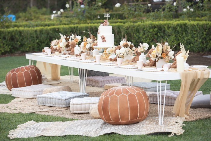 Modern Boho Teddy Bear Picnic Table from a Teddy Bear Birthday Party on Kara's Party Ideas | KarasPartyIdeas.com (11)